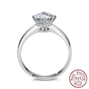 925 sterling silver 2ct zircon adjustable ring